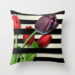 Red & Purple Tulips Black Layered Stripes Throw Pillow