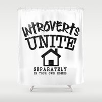 psychology Shower Curtains featuring Introverts Unite! by Rendra Sy