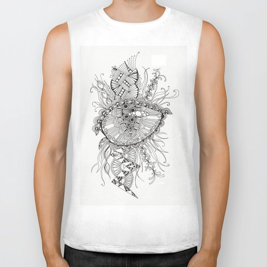black and white abstraction Biker Tank