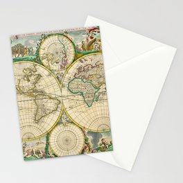 "Frederik de Wit ""Worldmap"" title Nova Orbis Tabula, In Lucem Edita (1670) Stationery Cards"