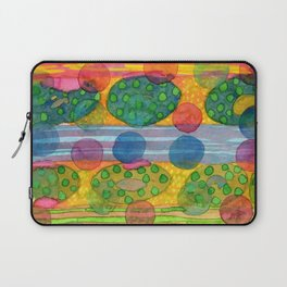 Round Shapes within and above horizontal Stripes Laptop Sleeve