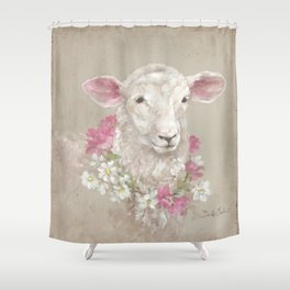 Sheep With Floral Wreath by Debi Coules Shower Curtain