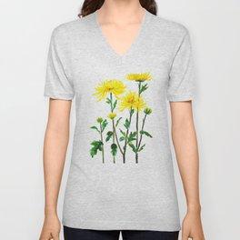 yellow chrysanthemum Unisex V-Neck