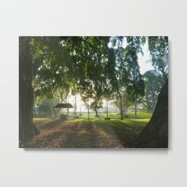 Misty Morning- Queens Park, Maryborough QLD Metal Print