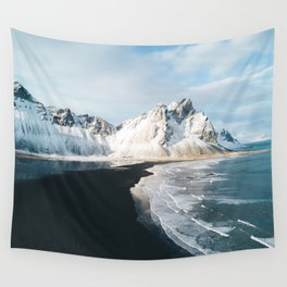 Iceland Mountain Beach - Landscape Photography Wall Tapestry