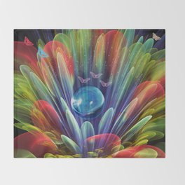 Dream world with butterflies, fractal mixed media art Throw Blanket