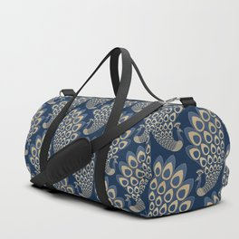 Blue and Gold Art Deco Peakock Duffle Bag