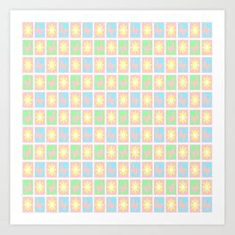 New Shabby Quilt Squares in Pink Art Print
