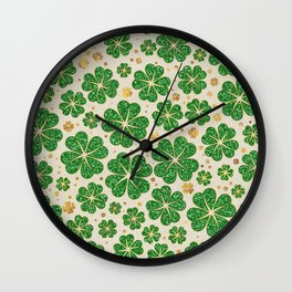 Lucky Shamrock Four-leaf Clover Pattern Wall Clock