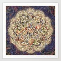 Gold Morocco Lace Mandala Art Print