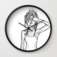 psycho Wall Clocks featuring Psycho by Guinevere Maerckx