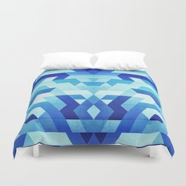 Abstract geometric triangle pattern (futuristic future symmetry) in ice blue Duvet Cover