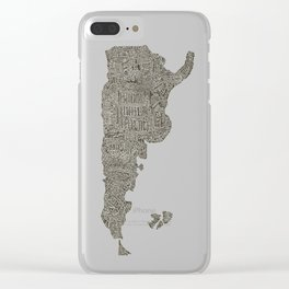 Lettering map of Argentina Clear iPhone Case