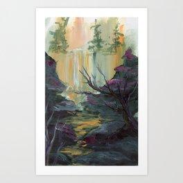 Waterfall Cliffs Art Print