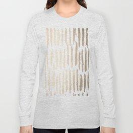White Gold Sands Vertical Dash Long Sleeve T-shirt