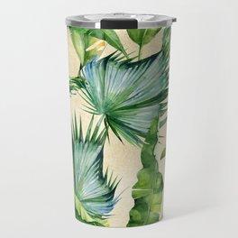 Green Tropics Leaves on Linen Travel Mug