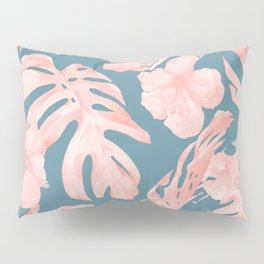 Tropical Palm Leaves and Hibiscus Pink Teal Blue Pillow Sham