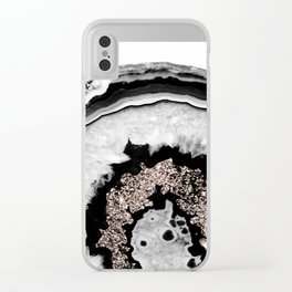 Gray Black White Agate with Rose Gold Glitter #1 #gem #decor #art #society6 Clear iPhone Case