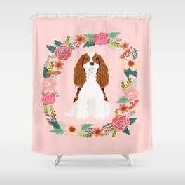 Cavalier king charles spaniel blenheim white dog floral wreath dog gifts pet portraits Shower Curtain