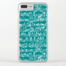 Hand Written Sheet Music // Teal Clear iPhone Case