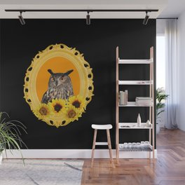 Yellow Frame with sunflowers and Owl Wall Mural