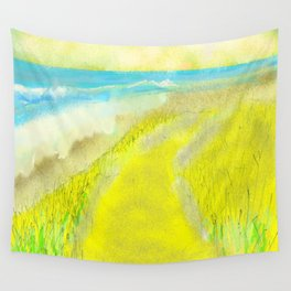 Yellow and Bright Oceanfront Wall Tapestry