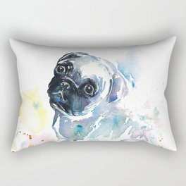 Pug Puppy in Splashy Watercolor Rectangular Pillow