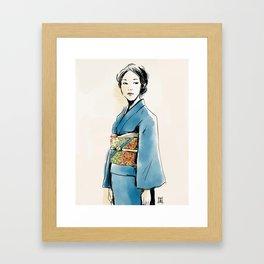 青い着物の女 Framed Art Print
