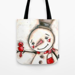 Red  Bird and Snowman - Christmas Holiday Art Tote Bag