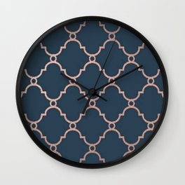 Satin Blue & Metallic Bronze Wall Clock