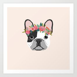 French Bulldog dog breed floral crown frenchies lover pure breed gifts Art Print