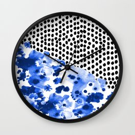 Monroe - India ink, indigo, dots, spots, print pattern, surface design Wall Clock