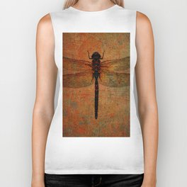 Dragonfly On Orange and Green Background Biker Tank