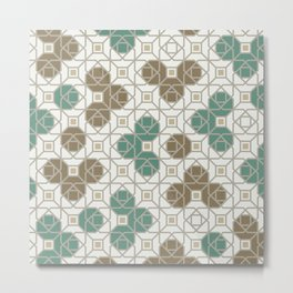 Geometric Octagon and Square Shapes Line Art Jade Green Tobacco Brown Beige Gray Metal Print