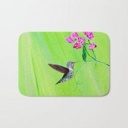 Hummingbird & Sweet Peas Bath Mat