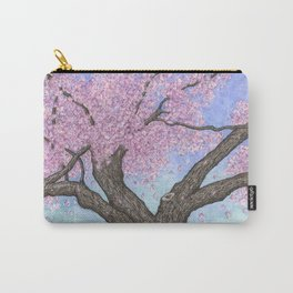 Cherry Blossom Tree Ink and Watercolor  Carry-All Pouch