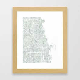 Map Chicago city watercolor map Framed Art Print