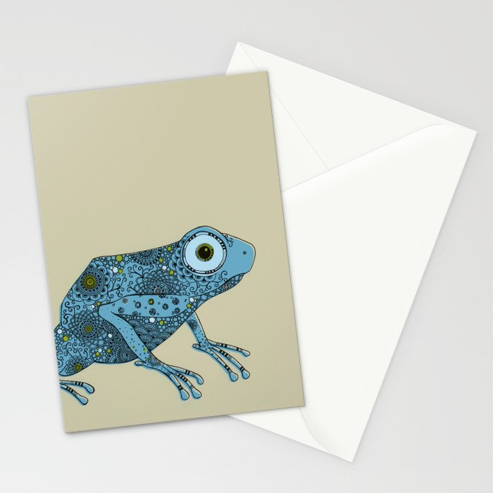 Little blue frog Stationery Cards