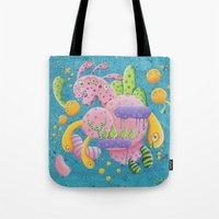 psychadelic Tote Bags featuring Psychadelic Pink by sophie gerl