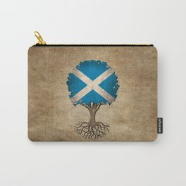 Vintage Tree of Life with Flag of Scotland Carry-All Pouch