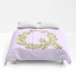 Leafy Letter Q Comforters