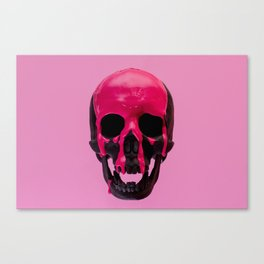 Pink Dripping Skull Canvas Print