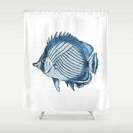 Fish coastal ocean blue watercolor Shower Curtain