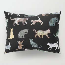 Cats shaped Marble - Black Pillow Sham