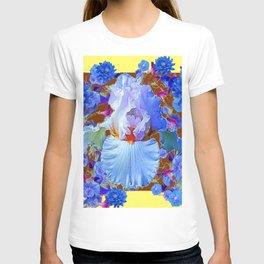 PASTEL IRIS & BLUE  BLUE FLOWERS YELLOW PATTERNS  FLOWERS ART FLOWERS T-shirt