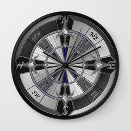 metal compass Wall Clock