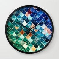 tiffany Wall Clocks featuring REALLY MERMAID TIFFANY by Monika Strigel