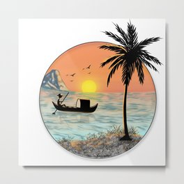 Beautiful sunrise view over sea with mountain and fishing boat near coconut tree Metal Print