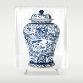 Blue & White Chinoiserie Cranes Porcelain Ginger Jar Shower Curtain