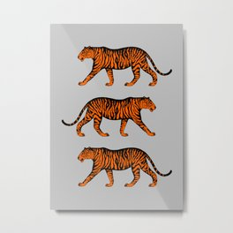 Tigers (Grey and Orange) Metal Print